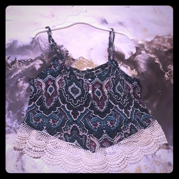 25fe5db930564 Polly Esther multi colored hippie lace tank top. M 5a46243b3800c5e98d108c71